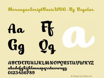MerengueScriptBasicW00-Rg Regular Version 1.00 Font Sample