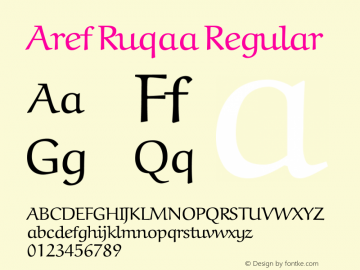 Aref Ruqaa Regular Version 0.4 Font Sample