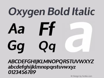 Oxygen Bold Italic Version 1.000; ttfautohint (v1.4.1) Font Sample