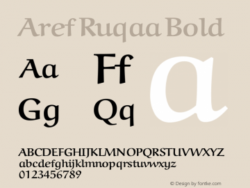 Aref Ruqaa Bold Version 0.5 Font Sample