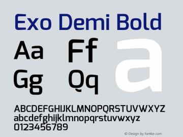 Exo Demi Bold Version 1.00 Font Sample