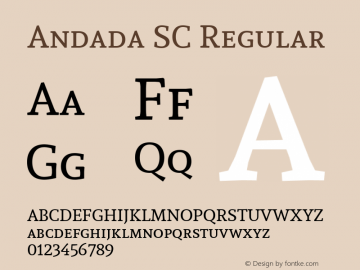 Andada SC Regular Version 1.003; ttfautohint (v1.4.1) Font Sample