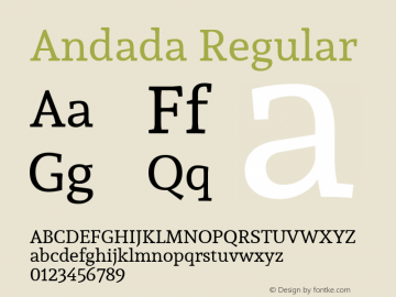Andada Regular Version 1.003; ttfautohint (v1.4.1) Font Sample