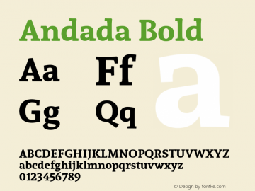 Andada Bold Version 1.003; ttfautohint (v1.4.1) Font Sample