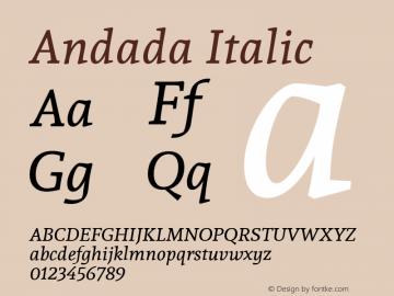 Andada Italic Version 1.003; ttfautohint (v1.4.1) Font Sample