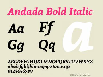 Andada Bold Italic Version 1.003; ttfautohint (v1.4.1) Font Sample