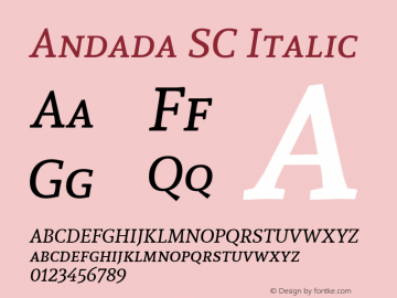 Andada SC Italic Version 1.003; ttfautohint (v1.4.1) Font Sample
