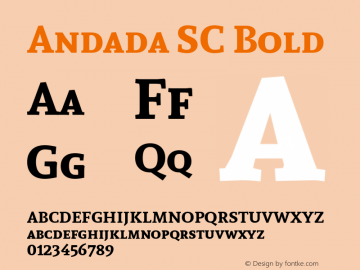 Andada SC Bold Version 1.003; ttfautohint (v1.4.1) Font Sample