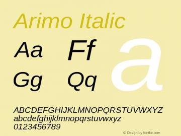Arimo Italic Version 1.23; ttfautohint (v1.4.1) Font Sample