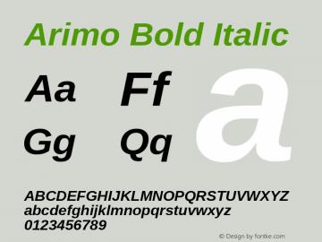 Arimo Bold Italic Version 1.23; ttfautohint (v1.4.1) Font Sample