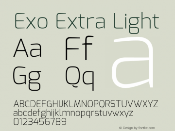 Exo Extra Light Version 1.00 Font Sample