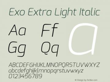 Exo Extra Light Italic Version 1.00 Font Sample