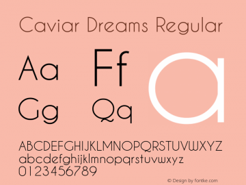 Caviar Dreams Regular Version 4.00 July 10, 2012; ttfautohint (v1.4.1) Font Sample