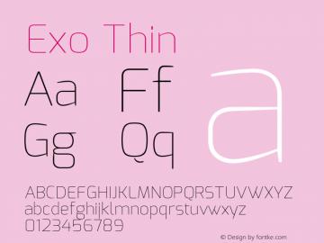 Exo Thin Version 1.00 ; ttfautohint (v1.4.1) Font Sample
