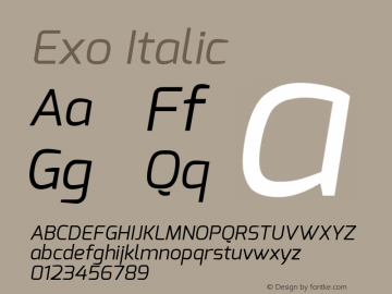 Exo Italic Version 1.00 ; ttfautohint (v1.4.1) Font Sample