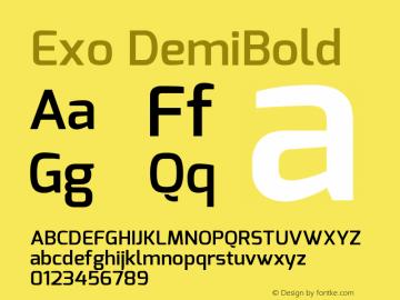 Exo DemiBold Version 1.00 ; ttfautohint (v1.4.1) Font Sample
