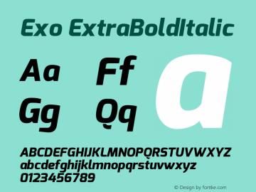 Exo ExtraBoldItalic Version 1.00 ; ttfautohint (v1.4.1) Font Sample