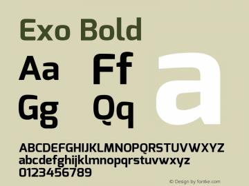 Exo Bold Version 1.00 ; ttfautohint (v1.4.1) Font Sample