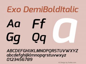 Exo DemiBoldItalic Version 1 ; ttfautohint (v1.4.1) Font Sample