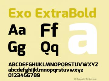 Exo ExtraBold Version 1.00 ; ttfautohint (v1.4.1) Font Sample