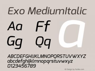 Exo MediumItalic Version 1.00 ; ttfautohint (v1.4.1) Font Sample