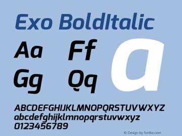 Exo BoldItalic Version 1.00 ; ttfautohint (v1.4.1) Font Sample