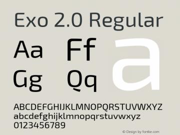 Exo 2.0 Regular Version 1.001;PS 001.001;hotconv 1.0.70;makeotf.lib2.5.58329; ttfautohint (v1.4.1) Font Sample