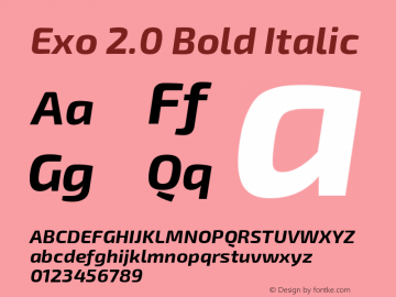 Exo 2.0 Bold Italic Version 1.001;PS 001.001;hotconv 1.0.70;makeotf.lib2.5.58329; ttfautohint (v1.4.1) Font Sample