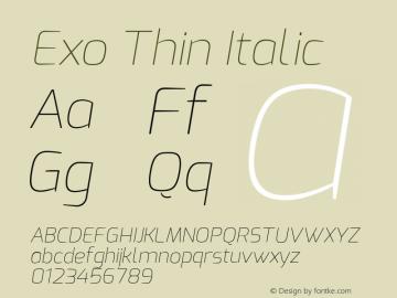 Exo Thin Italic Version 1.00 Font Sample