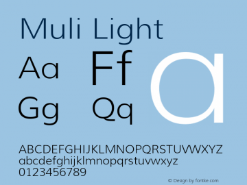 Muli Light Version 1.000; ttfautohint (v1.4.1) Font Sample