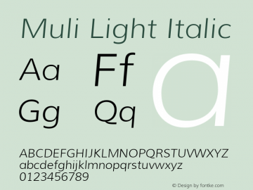 Muli Light Italic Version 1.000; ttfautohint (v1.4.1) Font Sample
