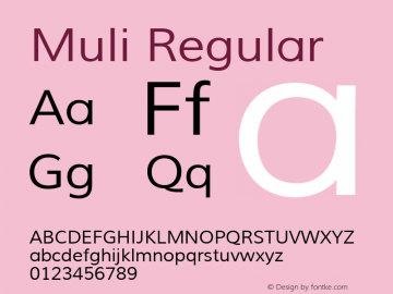 Muli Regular Version 1.000; ttfautohint (v1.4.1) Font Sample