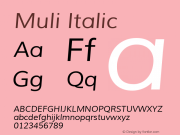 Muli Italic Version 1.000; ttfautohint (v1.4.1) Font Sample
