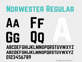 Norwester Regular Version 1.002;PS 001.002;hotconv 1.0.70;makeotf.lib2.5.58329; ttfautohint (v1.4.1)图片样张