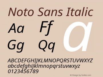 Noto Sans Italic Version 1.04; ttfautohint (v1.4.1) Font Sample
