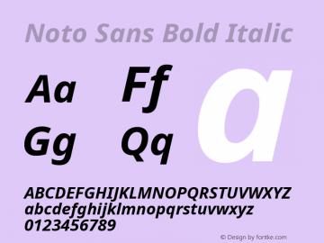 Noto Sans Bold Italic Version 1.04; ttfautohint (v1.4.1) Font Sample