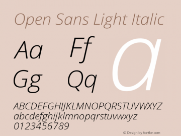 Open Sans Light Italic Version 1.10; ttfautohint (v1.4.1) Font Sample