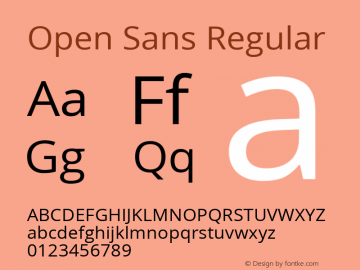 Open Sans Regular Version 1.10; ttfautohint (v1.4.1) Font Sample