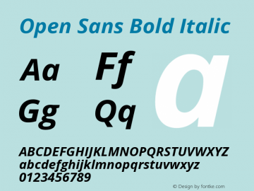 Open Sans Bold Italic Version 1.10; ttfautohint (v1.4.1) Font Sample