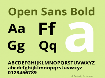 Open Sans Bold Version 1.10; ttfautohint (v1.4.1) Font Sample