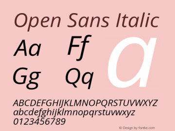 Open Sans Italic Version 1.10; ttfautohint (v1.4.1) Font Sample