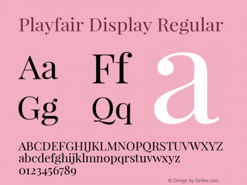Playfair Display Regular Version 1.004;PS 001.004;hotconv 1.0.70;makeotf.lib2.5.58329; ttfautohint (v1.4.1) Font Sample