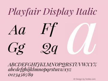 Playfair Display Italic Version 1.004;PS 001.004;hotconv 1.0.70;makeotf.lib2.5.58329; ttfautohint (v1.4.1) Font Sample