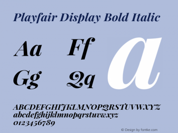 Playfair Display Bold Italic Version 1.004;PS 001.004;hotconv 1.0.70;makeotf.lib2.5.58329; ttfautohint (v1.4.1) Font Sample
