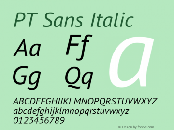 PT Sans Italic Version 2.005; ttfautohint (v1.4.1) Font Sample
