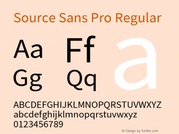 Source Sans Pro Regular Version 2.010;PS 2.0;hotconv 1.0.78;makeotf.lib2.5.61930; ttfautohint (v1.4.1) Font Sample