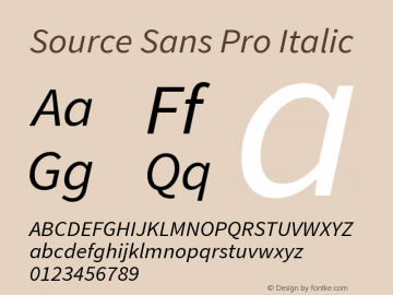 Source Sans Pro Italic Version 1.065;PS 2.0;hotconv 1.0.78;makeotf.lib2.5.61930; ttfautohint (v1.4.1) Font Sample