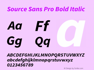 Source Sans Pro Bold Italic Version 1.065;PS 2.0;hotconv 1.0.78;makeotf.lib2.5.61930; ttfautohint (v1.4.1) Font Sample