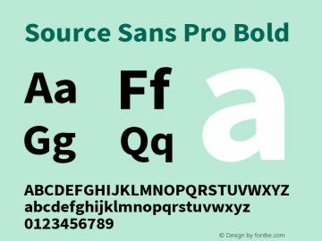 Source Sans Pro Bold Version 2.010;PS 2.0;hotconv 1.0.78;makeotf.lib2.5.61930; ttfautohint (v1.4.1) Font Sample
