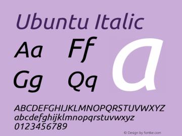 Ubuntu Italic Version 0.80; ttfautohint (v1.4.1) Font Sample